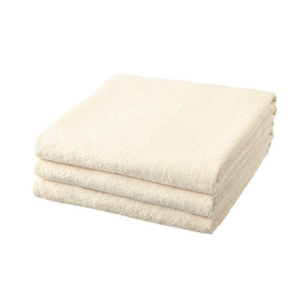 【送料無料】(まとめ) TANOSEE バスタオル クリーム 1パック(3枚) 【×5セット】