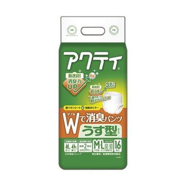 【送料無料】(まとめ)日本製紙 クレシア アクティWで消臭パンツ うす型タイプ M-L 1パック(16枚)【×10セット】
