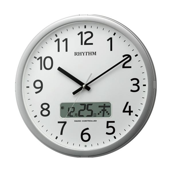 【送料無料】リズム時計 プログラム電波掛時計カレンダー表示付 4FNA01SR19 1台