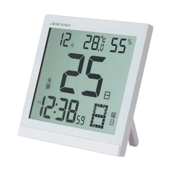 【送料無料】アデッソ 大画面クリア日めくり電波時計BC-8656 1個
