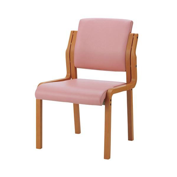 【送料無料】ジョインテックス 会議イス WF-C5L ピンク 肘無 木製