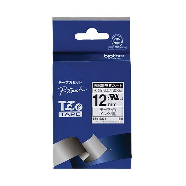 【送料無料】(まとめ) ブラザー ピータッチ TZeテープ強粘着ラミネートテープ 12mm 白/黒文字 TZE-S231 1個 【×10セット】