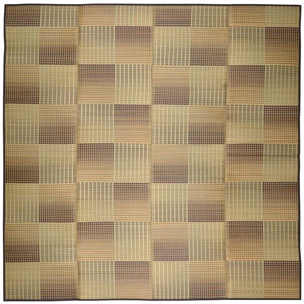 い草 ラグマット/絨毯 【約240×240cm ベージュ】 表面:イ草100% 裏貼り 折りたたみ可 『クレパス』 〔リビング ダイニング〕【代引不可】