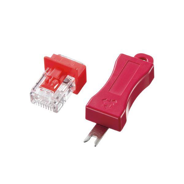 【送料無料】(まとめ)サンワサプライ LANポートセキュリティロックADT-RJ45LOCK【×10セット】