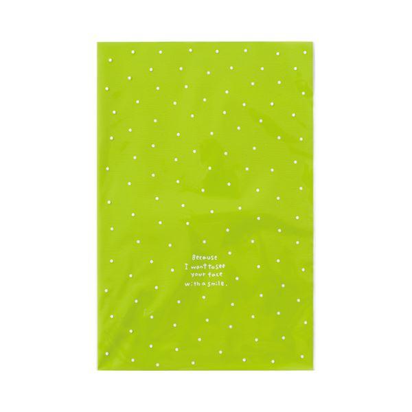 【送料無料】(まとめ)ヘッズ ドットOPPギフトバッグ L グリーン DT-O2 1パック(50枚)【×10セット】