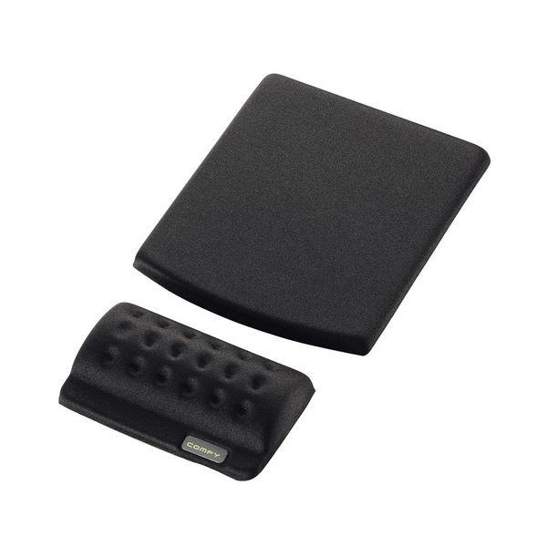 (まとめ) エレコム マウスパッド&リストレスト COMFY ブラック MP-114BK 1枚 【×10セット】