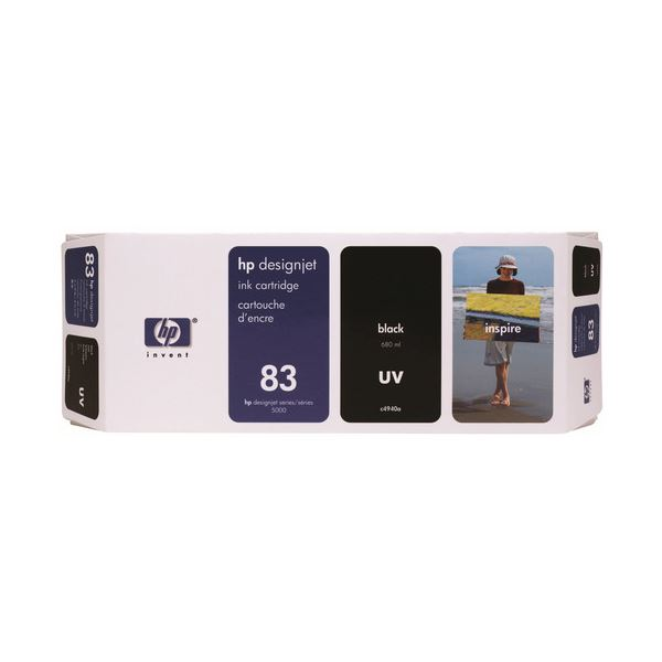 【送料無料】HP HP83 インクカートリッジUV黒 顔料系 C4940A 1個