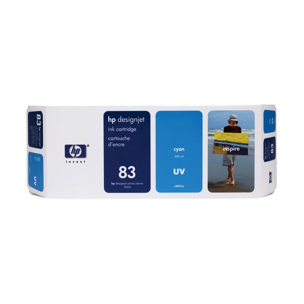 【送料無料】HP HP83 インクカートリッジUVシアン 顔料系 C4941A 1個
