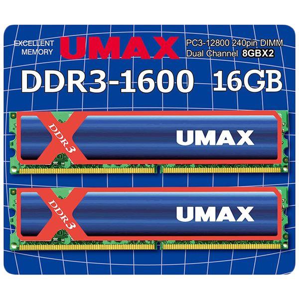 【送料無料】UMAX ディスクトップ用メモリー UDIMM DDR3-1600 16GB(8GB×2) H/S UM-DDR3D-1600-16GBHS