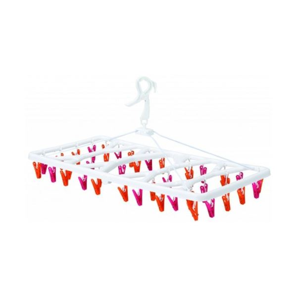 【送料無料】(まとめ) 軽量 洗濯ハンガー/ピンチハンガー 【ピンク&オレンジ】 40ピンチ 樹脂製フレーム 【×20個セット】