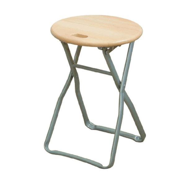 【送料無料】折りたたみ椅子 【4脚セット ナチュラル×シルバー】 幅32cm 日本製 木製 スチールパイプ 『キャプテンチェア』【代引不可】