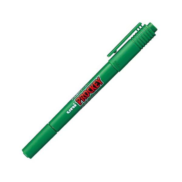 【送料無料】(まとめ) 三菱鉛筆 水性マーカー プロッキー 細字丸芯+極細 緑 PM120T.6 1本 【×100セット】