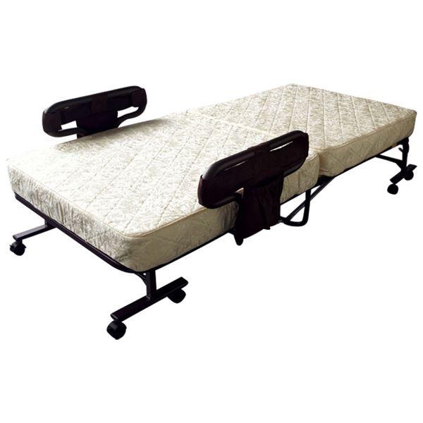【送料無料】折りたたみベッド/簡易ベッド 手動ボンネルコイルタイプ ベージュ 幅101cm スチール ウレタン キャスター 手すり 【組立不要】