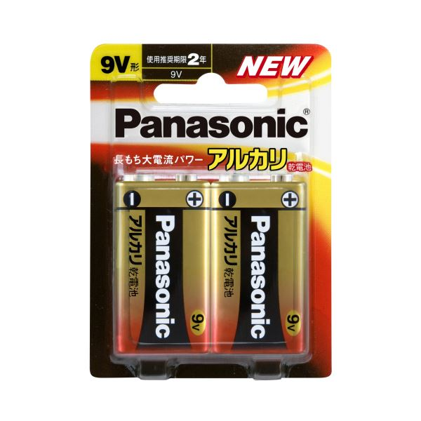(まとめ) パナソニック アルカリ乾電池 9V形6LR61XJ/2B 1パック(2本) 【×10セット】