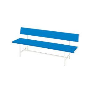【送料無料】カラーベンチ(背付) ブルー 【幅1505×奥行505×高さ700mm】 組立品【代引不可】