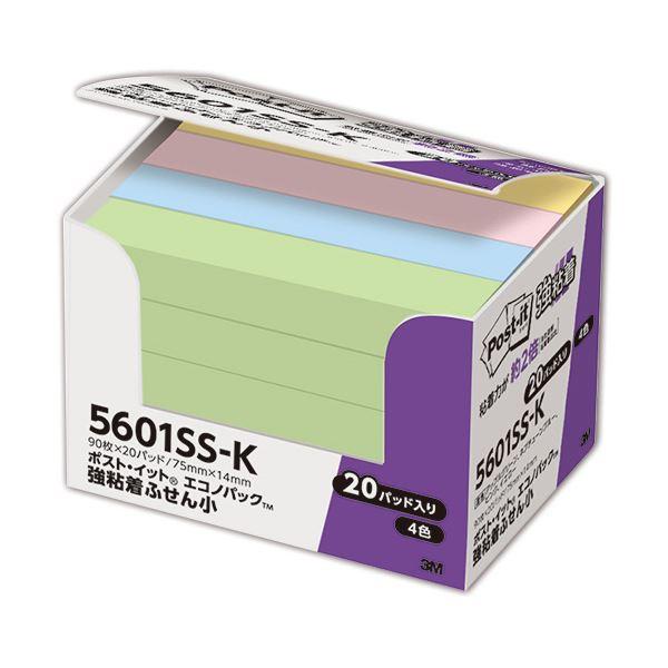 (まとめ) 3M ポスト・イット 強粘着エコノパック ふせん 小 75×14mm パステルカラー 4色混色 5601SS-K 1パック(20冊) 【×10セット】