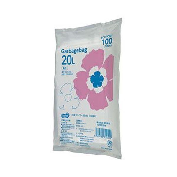 【送料無料】(まとめ)TANOSEE ゴミ袋エコノミー乳白半透明 20L 1パック(100枚)【×20セット】