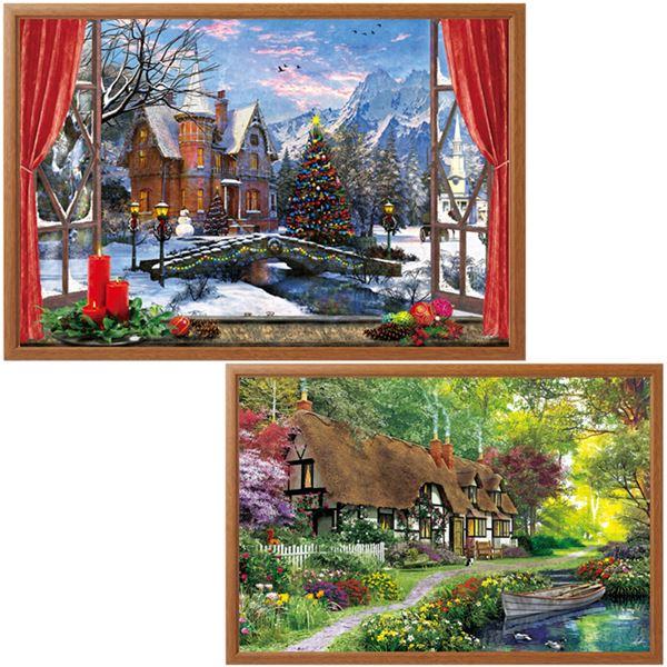 【送料無料】季節の風景画パズル額付2点セット