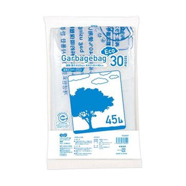 【送料無料】(まとめ)TANOSEE リサイクルポリ袋(エコデザイン)透明 45L 1パック(30枚)【×20セット】