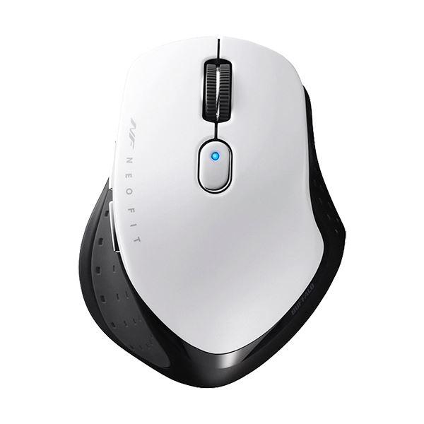 (まとめ) バッファロー 無線 BlueLED5ボタン ネオフィットマウス Mサイズ ホワイト BSMBW510MWH 1個 【×5セット】