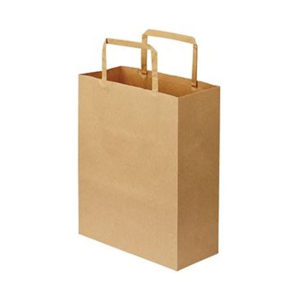 【送料無料】(まとめ)TANOSEE 紙手提袋 平紐 特小ヨコ200×タテ245×マチ幅90mm 茶無地 1パック(50枚)【×20セット】