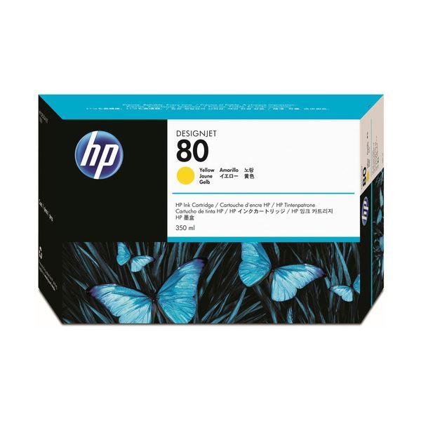 【送料無料】(まとめ) HP80 インクカートリッジ イエロー 350ml 染料系 C4848A 1個 【×10セット】