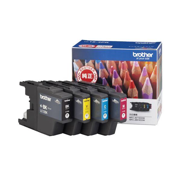 (まとめ) ブラザー BROTHER インクカートリッジ お徳用 4色 LC12-4PK 1箱(4個:各色1個) 【×10セット】
