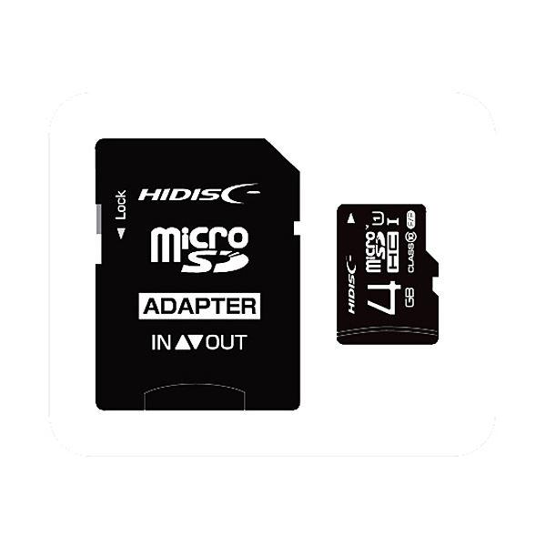 (まとめ) ハイディスク microSDHCカード4GB class10 UHS-I対応 SD変換アダプター付き HDMCSDH4GCL10UIJP3 1枚 【×10セット】