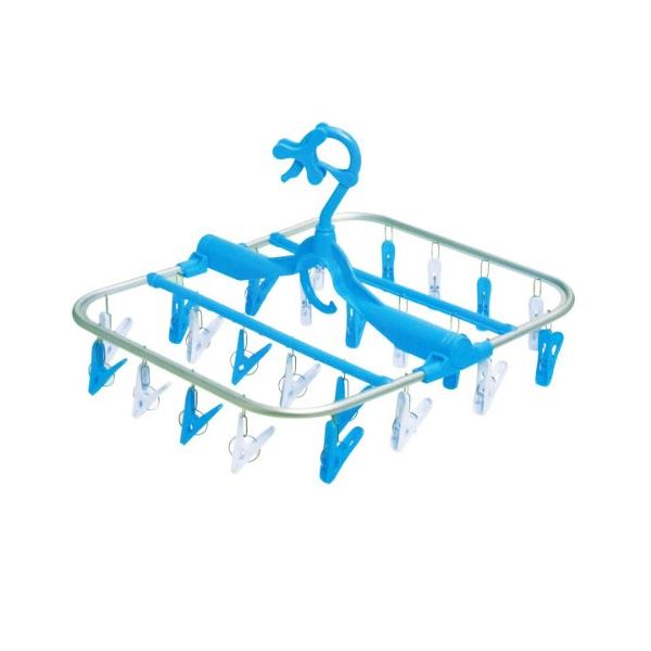 【送料無料】(まとめ)ニッコー アルミコンパクト角ハンガー24ピンチ ホワイト ブルー (洗濯用角ハンガーピンチ付き) 【24個セット 】