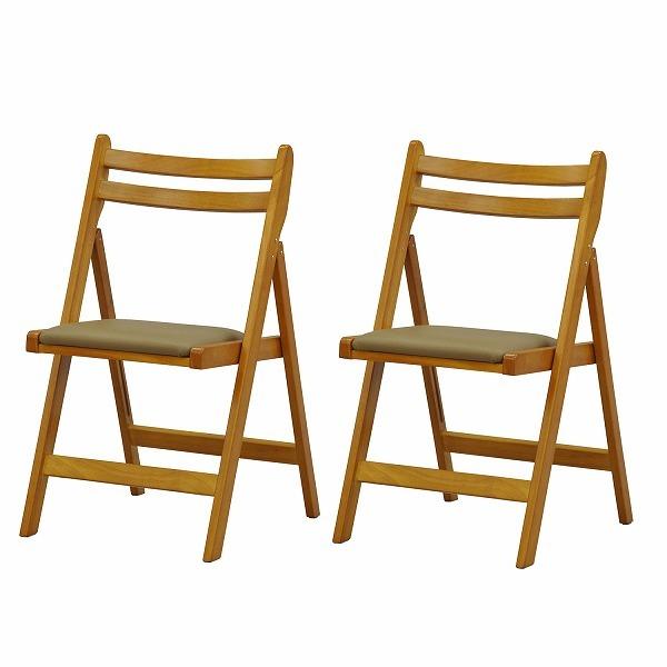 【送料無料】木製折畳チェア【2脚セット】ブラウン【代引不可】