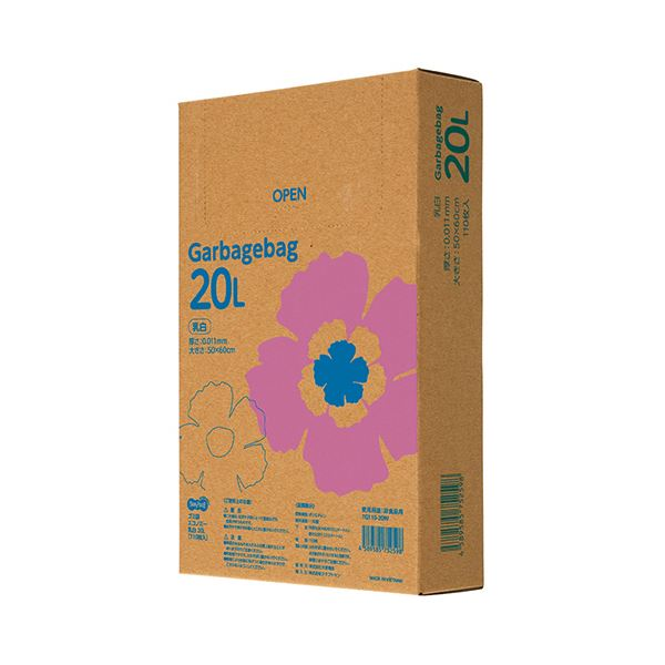 【送料無料】TANOSEE ゴミ袋エコノミー乳白半透明 20L BOXタイプ 1セット(2200枚:110枚×20箱)