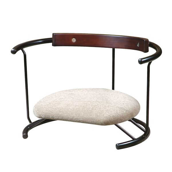 【送料無料】あぐら椅子/正座椅子 【スウィング背もたれ付き モスホワイト×ブラック】 幅60cm 耐荷重80kg 日本製 スチール 『座ユー』【代引不可】