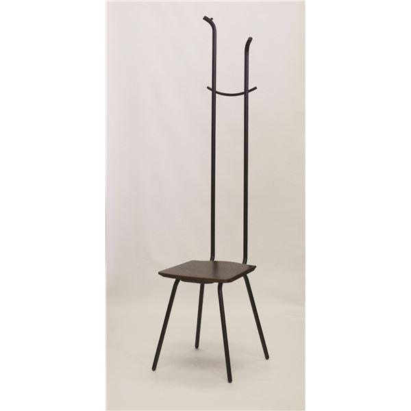 【送料無料】コートハンガー付き 玄関椅子 【ダークブラウン×ブラック】 幅34cm 日本製 スチールパイプ 『ハンガーチェア ミスカンサス』【代引不可】