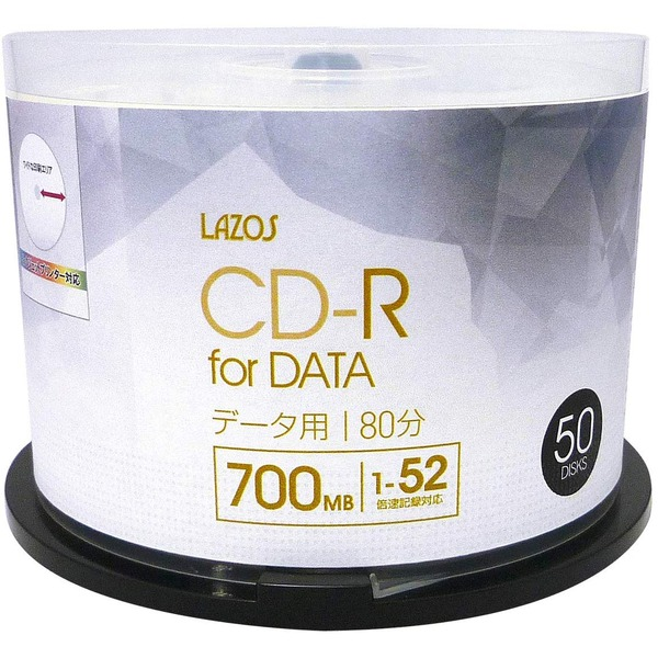 【送料無料】LAZOS CD-Rメディア52倍速50枚スピンドル×10個セット L-CD50P-10P