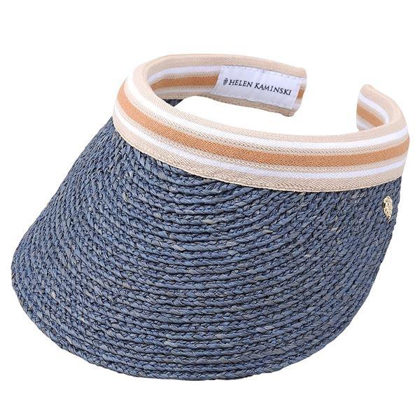 【送料無料】HELEN KAMINSKI(ヘレンカミンスキー) Bianca Misty Lake/Nougat Stripe ビアンカ UPF50+ クリップ サンバイザー ラフィア製ハット レディス帽子【代引不可】