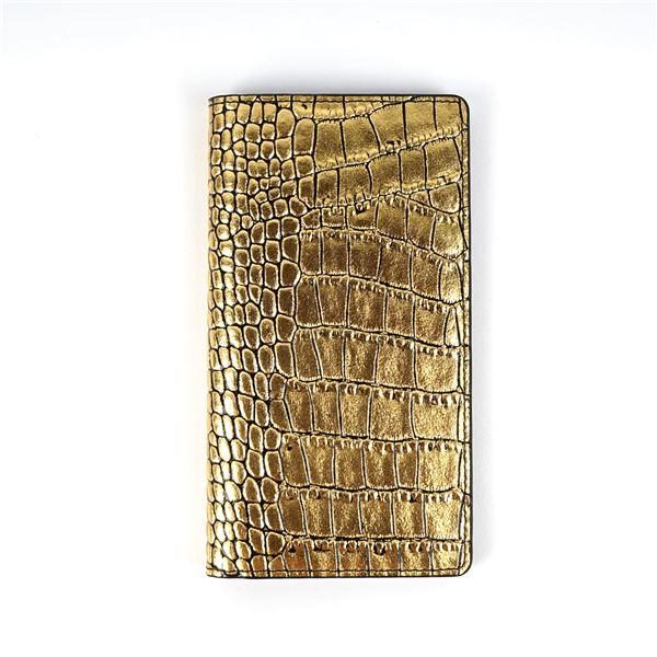 GAZE 多機種対応スライド式 手帳型ケース Gold Croco Diary Mサイズ