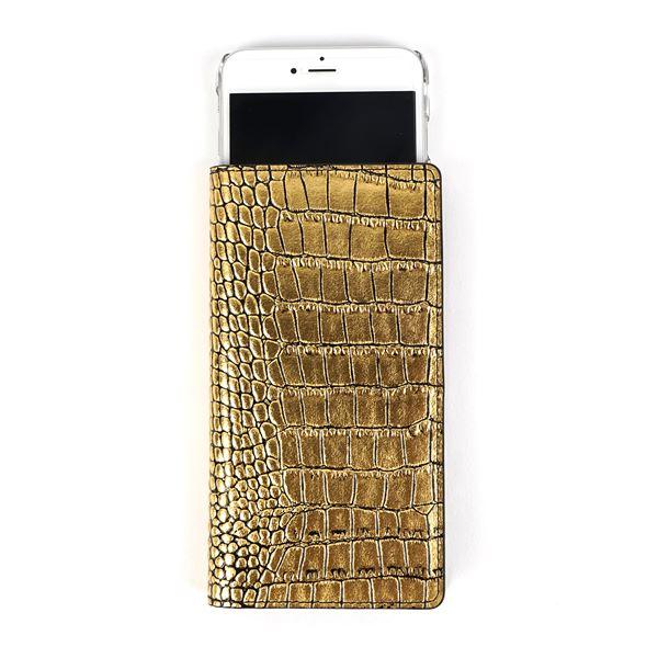GAZE 多機種対応スライド式 手帳型ケース Gold Croco Diary Lサイズ