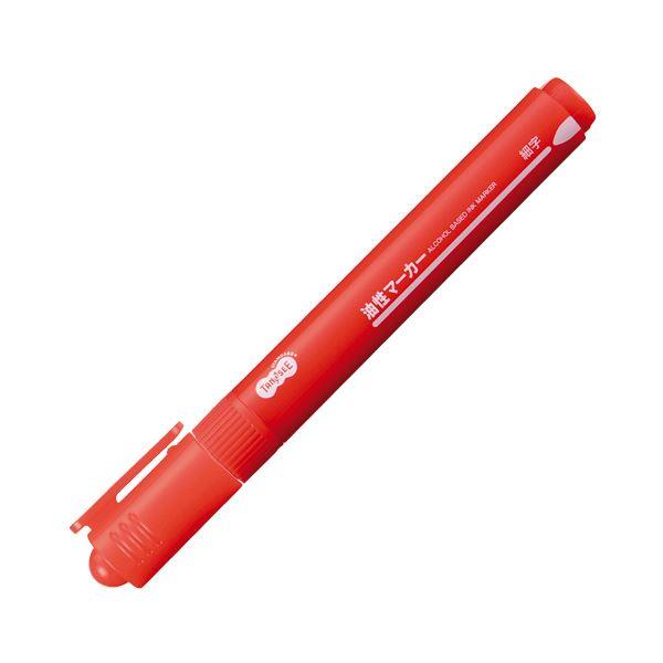 【送料無料】(まとめ) TANOSEE キャップ式油性マーカー シングル 細字 赤 1セット(10本) 【×30セット】