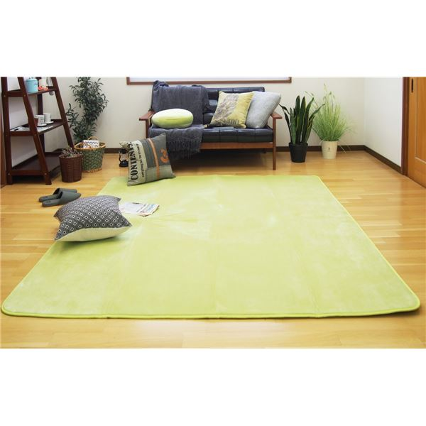 【送料無料】低反発 ラグマット/絨毯 【190cm×240cm グリーン】 長方形 撥水 防滑 ホットカーペット 床暖房対応 『マシュマロ』【代引不可】