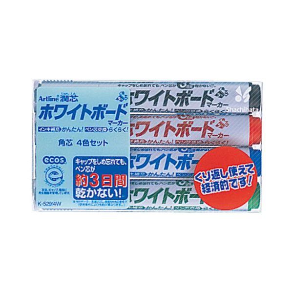 【送料無料】(まとめ) シヤチハタアートライン潤芯ホワイトボードマーカー 太字角芯 4色(各色1本) 70620 1パック 【×30セット】