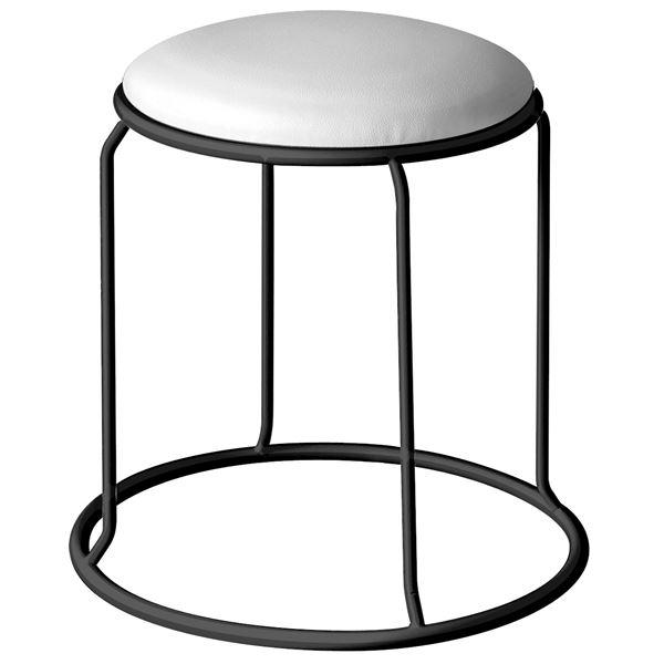 【送料無料】北欧風 スツール/丸椅子 【同色5脚セット ホワイト×ブラック】 幅415mm スチール ビニールレザー 『レザー リンクスツール』【代引不可】