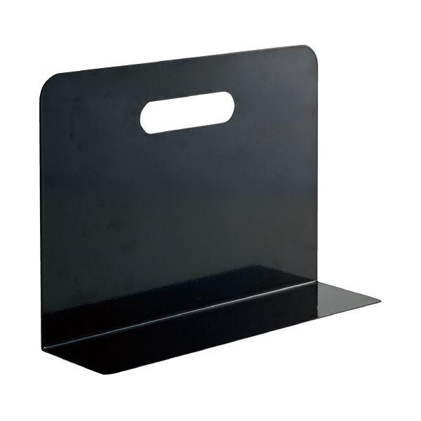 (まとめ)LIHITLAB ブックエンド・ワイド A7352-24 黒(×10セット)