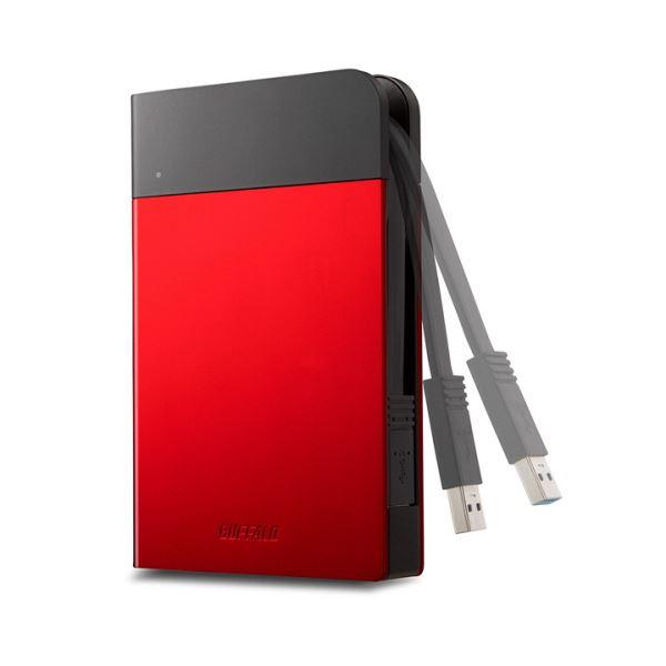 【送料無料】バッファローICカード対応MILスペック耐衝撃ボディー防滴・防塵ポータブルHDD 1TB レッド HD-PZN1.0U3-R1台