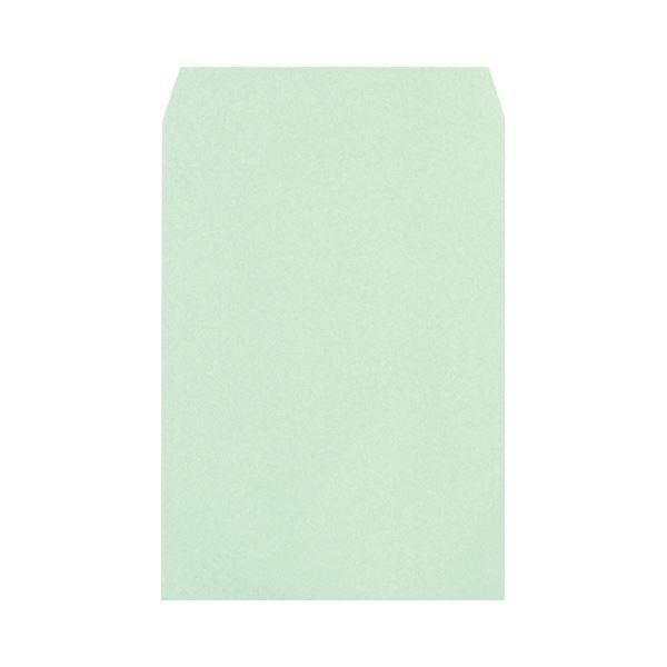 (まとめ) ハート 透けないカラー封筒ワンタッチテープ付 角2 100g/m2 パステルグリーン XEP470 1パック(100枚) 【×5セット】