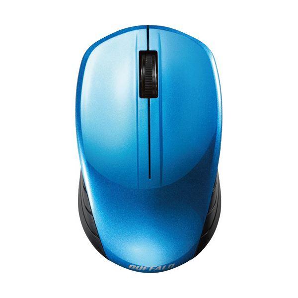 【送料無料】バッファロー 無線 BlueLED3ボタン スタンダードマウス ブルー BSMBW107BL 1セット(10個)