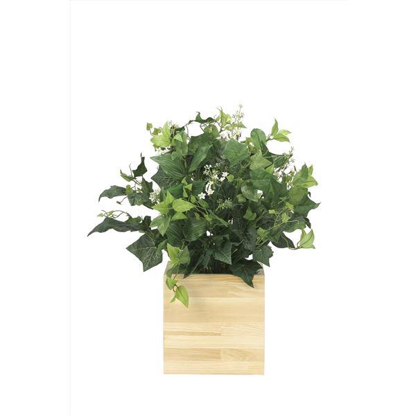 【送料無料】観葉植物/フェイクグリーン 【ウッドボックス K】 日本製 光触媒 消臭 抗菌 ホルムアルデヒド対策 『光の楽園』【代引不可】