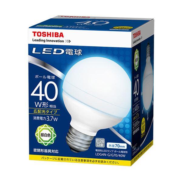 【送料無料】(まとめ) 東芝ライテック LED電球 ボール電球形40W形相当 3.7W E26 昼白色 LDG4N-G/G70/40W 1個 【×10セット】