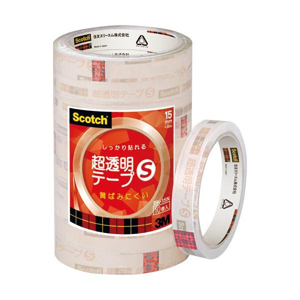 【送料無料】(まとめ) 3M スコッチ 超透明テープS15mm×35m BK-15N 1パック(10巻) 【×10セット】