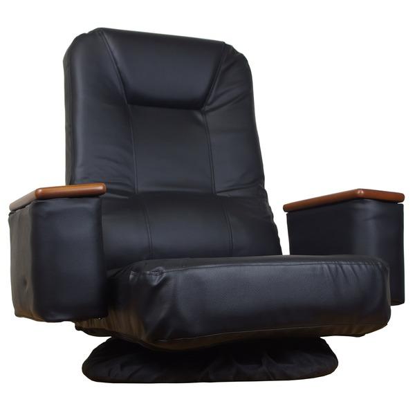 【送料無料】座椅子 マーサ ブラック 72x62x72cm 回転 肘掛け付き 14段階リクライニング
