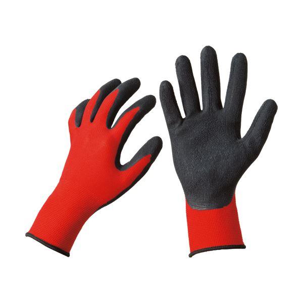 グリップ力に優れた通気性手袋。 【送料無料】(まとめ)TANOSEE 天然ゴム背抜き手袋 L レッド 1セット(50双:10双×5パック) 【×3セット】